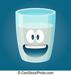 Glass of Water Funny Cartoon Character