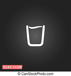 Glass of water icon - Glass of water. White flat simple...