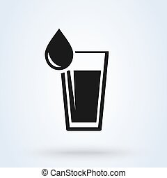 Glass of water icon vector. flat design isolated on white background