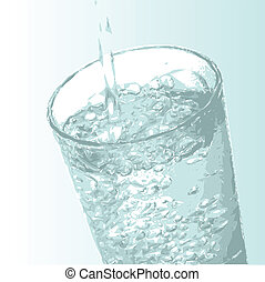 Glass of Water - Illustration showing a glass being filled...