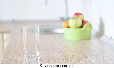 Glass of water in the kitchen