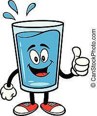 Glass of Water Mascot with Thumbs Up