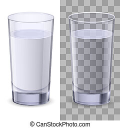 Glass of water - Realistic glasses of water. Illustration on...