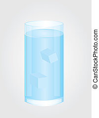 glass of water vector - blue and white glass of water with...