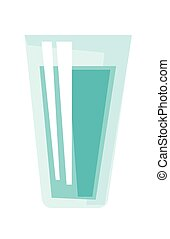 Glass of water vector cartoon illustration.