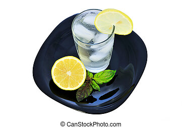 Glass of water with a lemon 2