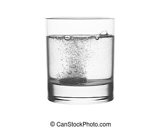 Glass of water with effervescent tablet isolated on white. ...