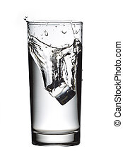 glass of water with ice cube