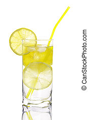 Glass of water with lemon isolated on white