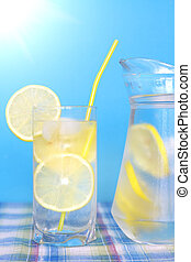 Glass of water with lemon on a blue background