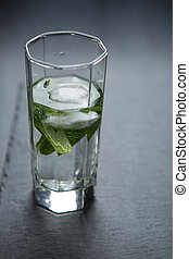 Glass of water with mint