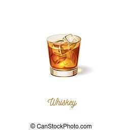 Glass of whiskey icon, realistic vector illustration