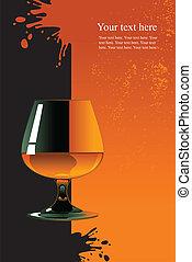 Glass of whiskey on orange and black background.