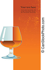 Glass of whiskey on orange background.