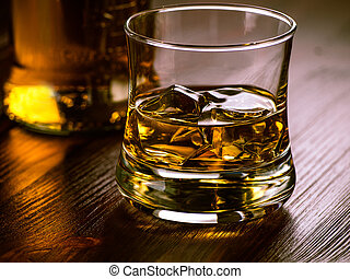 Glass of whiskey on the rocks