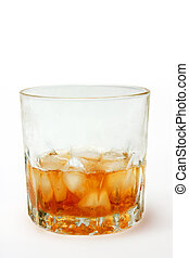 Glass of Whiskey on the rocks - with ice cubes against white...