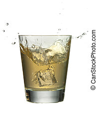 glass of whiskey with a splash