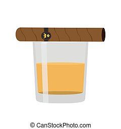 Glass of whiskey with cigar. Premium alcohol, tobacco. Flat styl