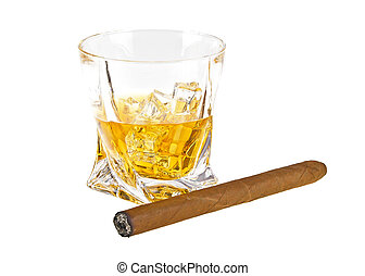 Glass of whiskey with ice and cigar isolated on white background