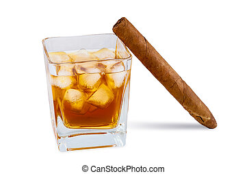 Glass of whiskey with ice and cigar