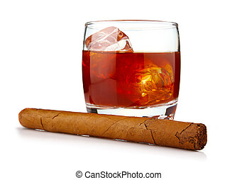Glass of whiskey with ice cubes and havana cigar isolated