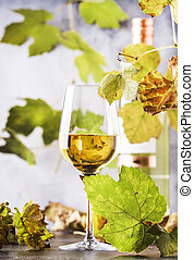 Glass of white wine and wine bottle in close up view of the wineglasses over abstract gray background with copy space