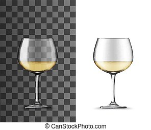 Glass of white wine montrachet realistic mockup of alcohol ...