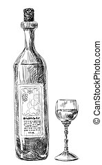 Glass of wine and bottle - Hand-drawn illustration, glass of...
