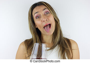 Glass of wine and funny face