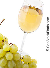 glass of wine and grapes on white