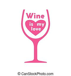 Glass of wine. Colored vector illustration on white