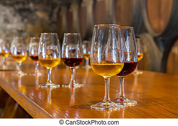 glass of wine - glasses of red and white port wine with ...