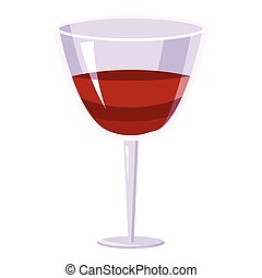 Glass of wine icon, cartoon style