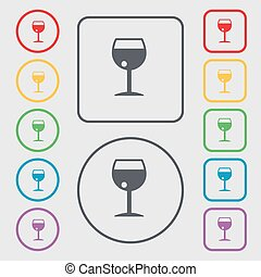 glass of wine icon sign. symbol on the Round and square buttons with frame. Vector