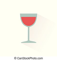 Glass of wine icon with shadow. Flat vector illustration
