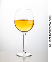 Glass of wine on a white background