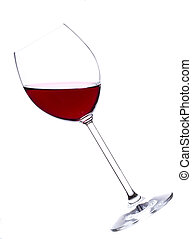 Glass of wine - Glass of red wine over white background