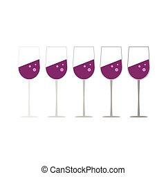 glass of wine set vector