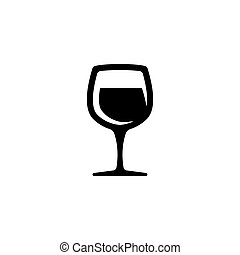 Glass of wine vector icon - symbol or logo