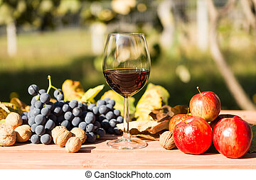 Glass of wine with autumn harvest