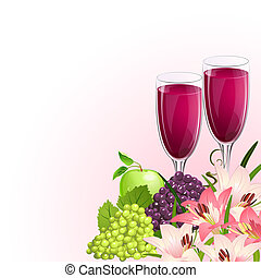 glass of wine with fruit and flowers