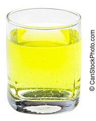 glass of yellow carbonated water with vitamin C isolated on...