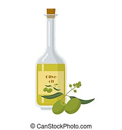 Glass olive oil bottle isolated on white background.