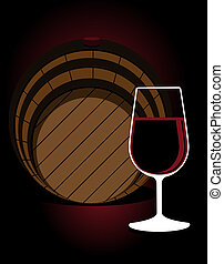 Glass or red wine with an oak cask