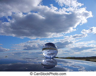 Glass orb reflecting - Crystal Ball reflecting sky