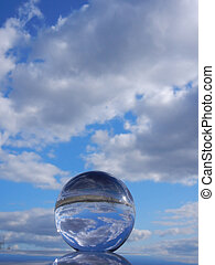 Glass orb reflection - Glass orb sky reflection