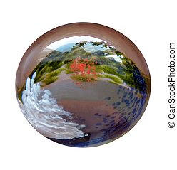 glass paperweight with a natural abstract theme