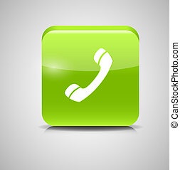Glass Phone Button Icon Vector Illustration