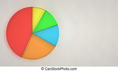 Glass pie chart on white background