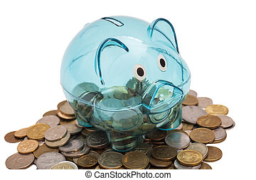 Glass Piggy Bank And Coins